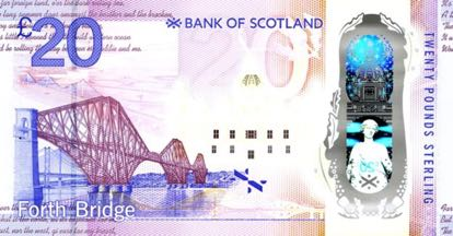 Bank of Scotland twenty pound note reverse side with Forth bridge